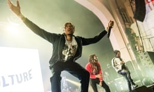 Takeoff, Offset and Quavo of Migos at the Brixton Academy.