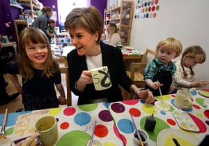SNP leader Nicola Sturgeon paints mugs on the election campaign trail in 2016