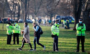 Police officers on patrol in Clapham Common, south London, last month.