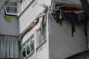 A building which was shorn by the force of the quake.