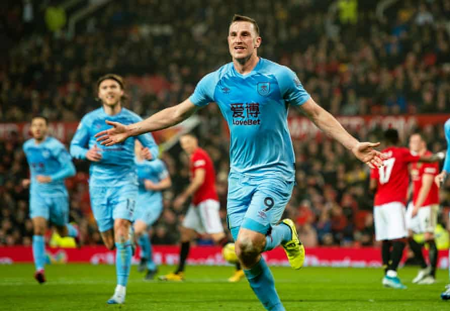 Chris Wood celebrates opening the scoring to set up Burnley's first win at Old Trafford since 1962.