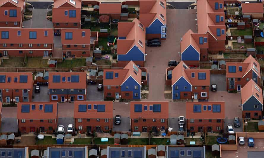 UK rooftops with solar panels