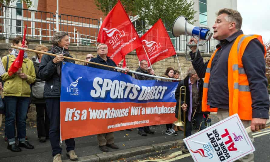 Unite union members protest against zero-hours contracts at Sports Direct's HQ in Shirebrook.