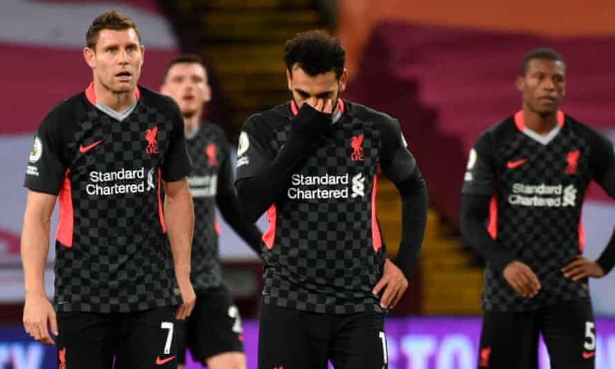 James Milner, Andy Robertson, Mo Salah and Georginio Wijnaldum are crestfallen after Liverpool's 7-2 humbling at Aston Villa in October
