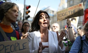 MP Heidi Allen speaks to Brexit protesters outside the Houses of Parliament, September 2019.