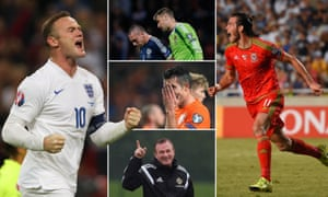 Joy for England, Wales and Northern Ireland but the misery of failure to qualify for Euro 2016 hits Holland and Scotland. Composite Jim Powell. Photographs: Getty Images and Reuters