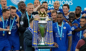 Leicester players with the trophy