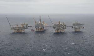 Equinor's Johan Sverdrup oilfield platforms in the North Sea, Norway.