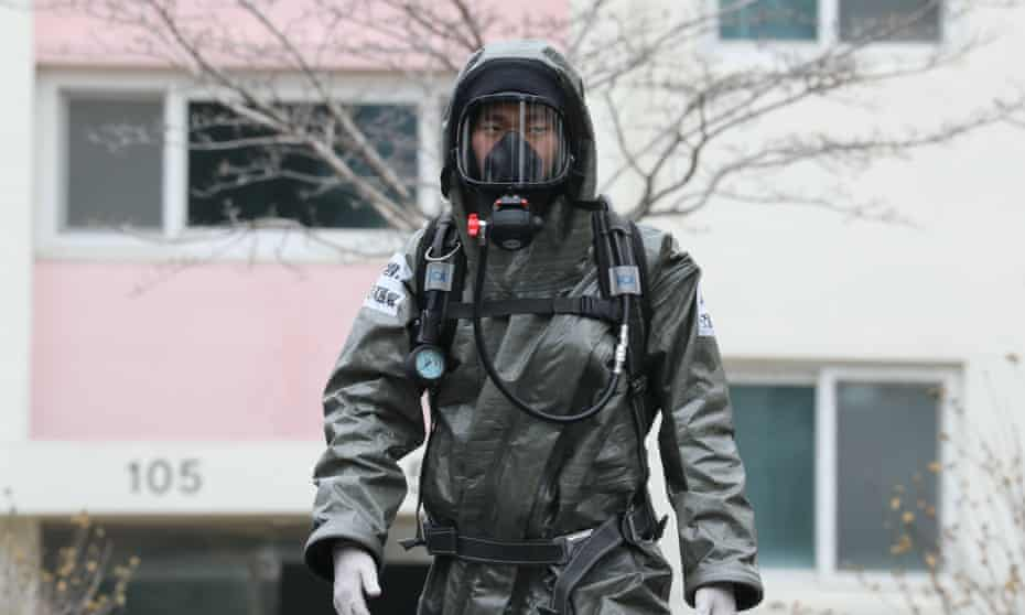 A South Korean soldier from the Armed Force CBR Defense Command wearing protective gear in Daegu, South Korea