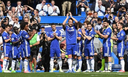 John Terry is given a guard of honour by his team-mates as he leaves the pitch in the 26th minute against Sunderland on Sunday.
