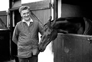 Red Rum with trainer Ginger McCain at his Southport yard