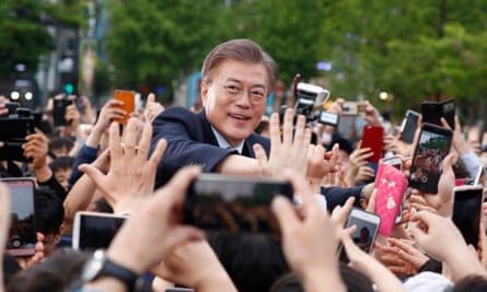 Moon Jae-in, who is widely expected to become South Korea's president, on the campaign trail