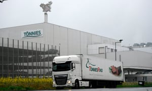 A truck in front of the headquarters of abattoir company Toennies in Rheda-Wiedenbrueck, near Guetersloh, western Germany, amid the coronavirus pandemic. - The company resumed its production on 16 July after a month-long forced closure after hundreds of employees were tested positive on the novel coronavirus.