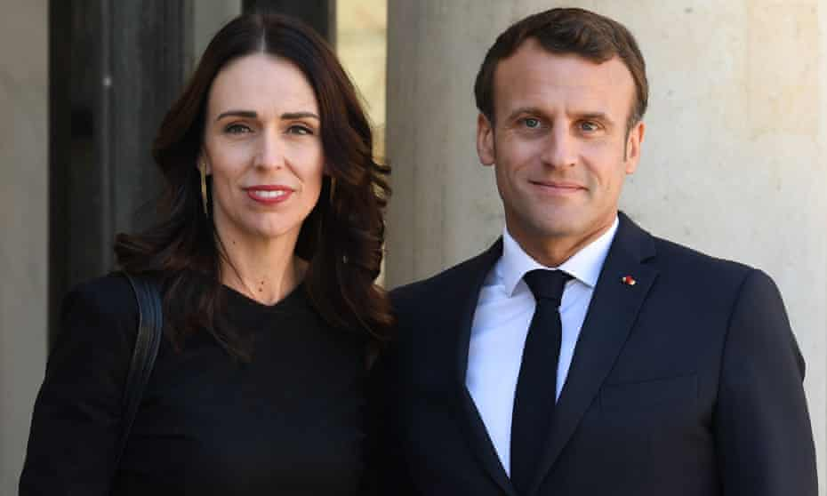 New Zealand prime minister Jacinda Ardern (L) is welcomed by French president Emmanuel Macron at the Elysee Palace in Paris.