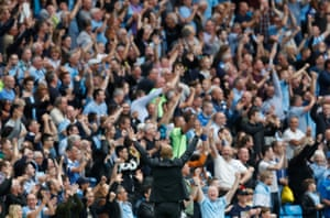 Manchester City manager Pep Guardiola and the City fans are in raptures.