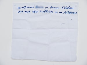 'We are still suffering': a hand written note from a Sudanese detainee on Manus Island.