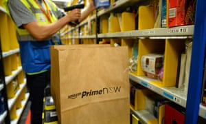 """Amazon's warehouse in Paris, as it prepares for the launch of """"Prime Now""""."""