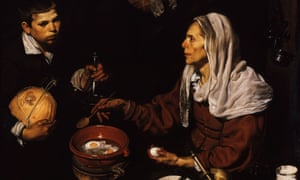 A detail from Old woman frying eggs, painted by Velázquez in 1618