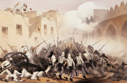 The storming of Delhi during the Sepoy uprising (1857-1858) against British rule, known as the Indian Mutiny,.