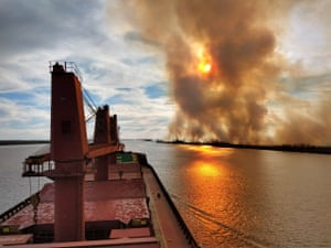 Fires in the Paraná Delta seen from a cargo ship on the river