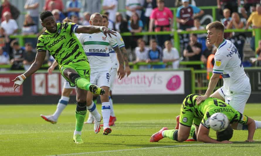 Jamille Matt takes a shot during Forest Green's game against Tranmere.