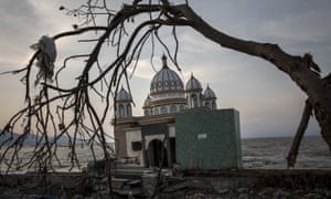 A mosque damaged in last Friday's earthquake and tsunami in Palu, Indonesia