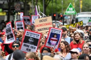 A crowd rallies in Melbourne in October, calling on refugees held on Nauru and Manus Island to be brought to Australia.
