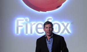 Mozilla's Chief Executive Officer (CEO) Gary Kovacs presents the new Firefox OS mobile operating system in Barcelona in February, 2013.