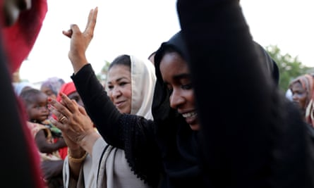 Sudanese protesters at the sit-in in Khartoum last week.