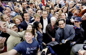 Ted Cruz poses with a group of supporters.