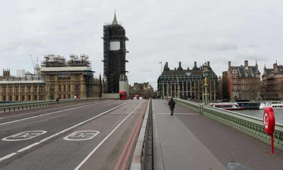 An almost-deserted Westminster Bridge in London