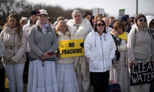 A protest at the Preston New Road drill site last month is supported by the actress Emma Thompson (centre, in hat).