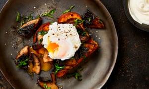 Yotam Ottolenghi's roast portobello mushrooms with brioche and poached egg.