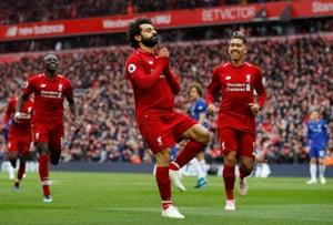Salah celebrates scoring Liverpool's second.