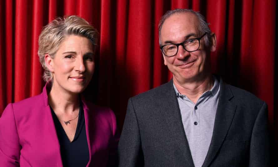 Tamsin Greig with Paul Ritter, who played her on-screen husband, in March 2020.