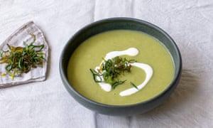 Tom Hunt's leek soup, made with crisp green leek tops.