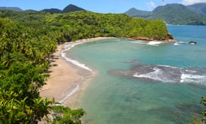 A view down down to Batibou beach on the Atlantic coast of Dominica