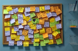 Beirut, Lebanon. A pinboard with notes of comments and thanks to the team at the NGO Embrace, which offers a national hotline people can call to receive mental health support. They support people psychologically affected by the August 2020 Beirut port explosion, among others