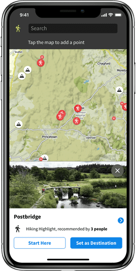 Screenshot of Komoot walking app
