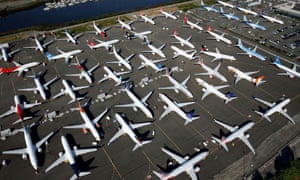 Dozens of grounded Boeing 737 Max aircraft in Seattle.