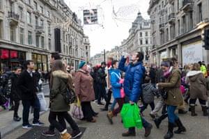 X marks the spot: pedestrians make their way over the crossroads