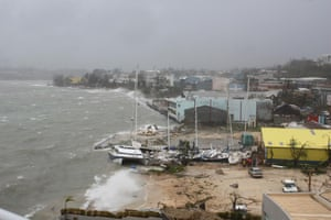 The coastline shows the impact of the storm surge