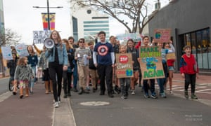 Bella Burgemeister, author of 'Bella's Challenge', leading a climate march.