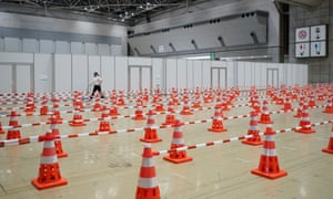PCR sample collection room lines are seen inside the Tokyo 2020 Organising Committee Main Press Centre (MPC) and International Broadcast Centre (IBC) ahead of the Tokyo 2020 Games which open on July 23