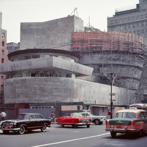 Frank lloyd Wright's Solomon R Guggenheim museum under construction in New York in the 1950s