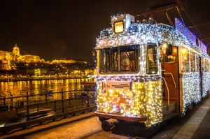 Tram in Budapest decorated with lights for the holiday season