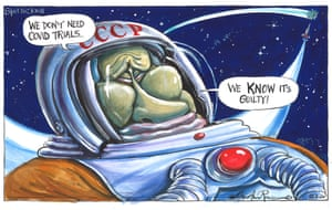 Martin Rowson cartoon 12.8.20: Putin in spacesuit says, 'We don't need Covid trials – we know it's guilty'