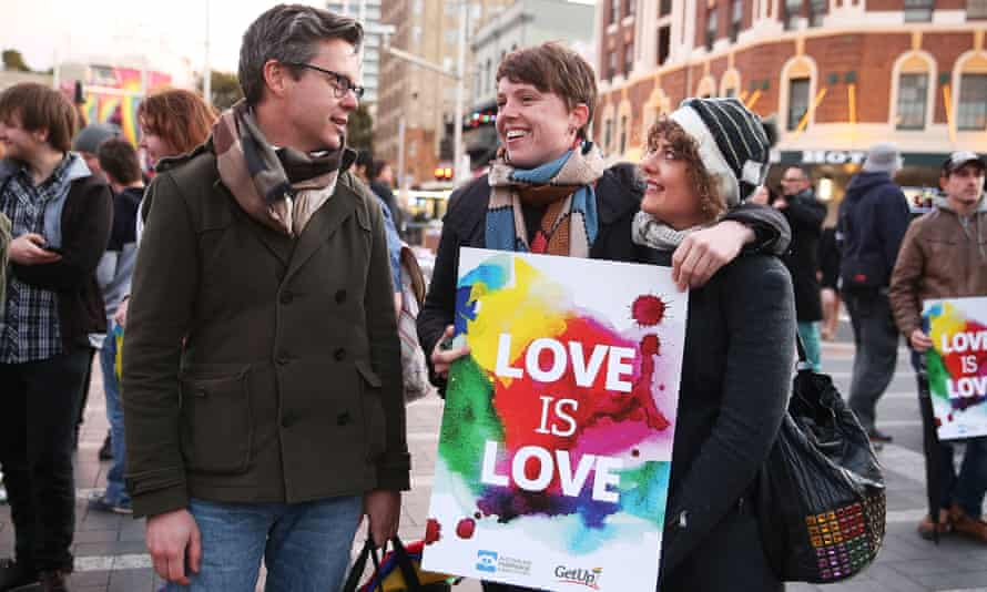 A rally in favour of marriage equality in Sydney