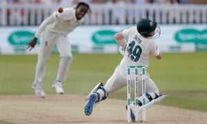 Steve Smith is struck on the neck by England fast bowler Jofra Archer in the second Ashes Test at Lord's.