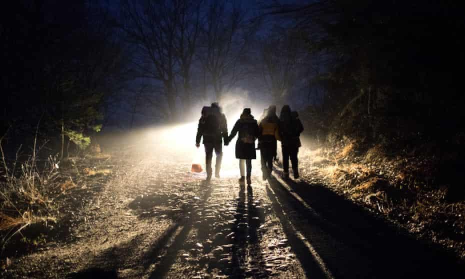Migrants attempt to enter the EU via the Croatian border, December 2019.